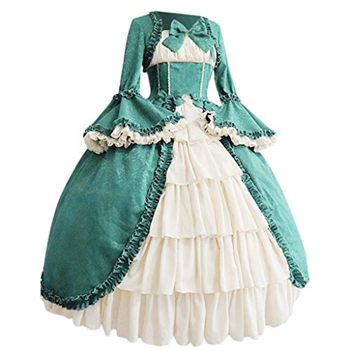 Baby Renaissance Kostüm - RYTEJFES Ballkleid Mittelalter Kleid mit Trompetenärmel