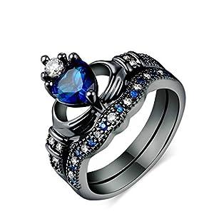 Eleusine Doppelschichtring Weibliche Hand Sapphire Heartshaped Kronen Ring
