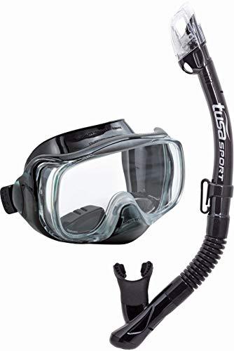 TUSA Sport Imprex 3D Dry Schnorchelset schnorchel-maske trocken schnorchel silikon, erwachsene, schwarz