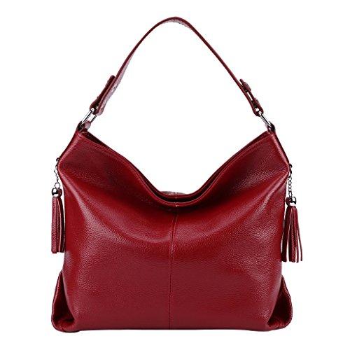 Mena UK Borsa a tracolla in borsa da spalla per acquirenti del progettista del cuoio del tallone di stile tallone delle donne ( Colore : Blu , dimensioni : 30cm*11cm*30cm ) Rosso