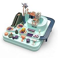 MOGOI Race Car Track Set for Kids, Macaron Urban Rail Car Parking Lot Kit Exclusive Adventure Train Tracks Toys Best Gifts for Boys Girls