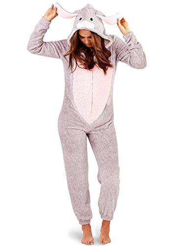 Loungeable Damen Jumpsuit Overall Tiere Gesichter Öhrchen 3D Kapuze Grey/Pink Rabbit 79744 L