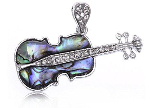 Alilang Damen Silber Farbton Abalone Farbige Stein Violinen Gitarren Instrument Anhänger (Kostüm Schmuck Broschen Großhandel)