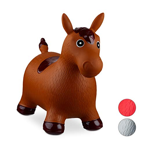 Relaxdays Hüpftier Pferd, inklusive Luftpumpe, Hüpfpferd bis 50 kg, Hüpfpony BPA frei, für Kinder, Hüpfspielzeug, braun