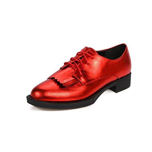 AllhqFashion Damen Schnüren Niedriger Absatz Pu Fransig Spitz Zehe Pumps Schuhe Rot
