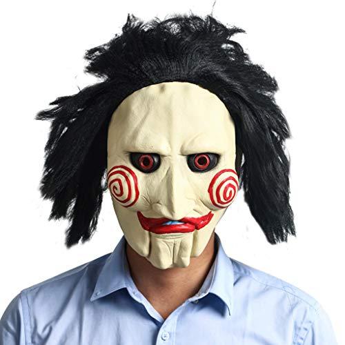 Kostüm Puppet Mann - Halloween-Vollkopf-Latexmaske Saw Movie Jigsaw Puppet Gruselige Gruselmaske