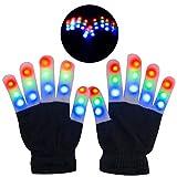 Guantes LED, Guantes de Mano Iluminados, Dedos Parpadeantes Guantes Coloridos de 6 Modos Brillo para Festivales / Halloween / Navidad / Juegos / Deportes / Regalo, Niños pequeños (5-10 años)