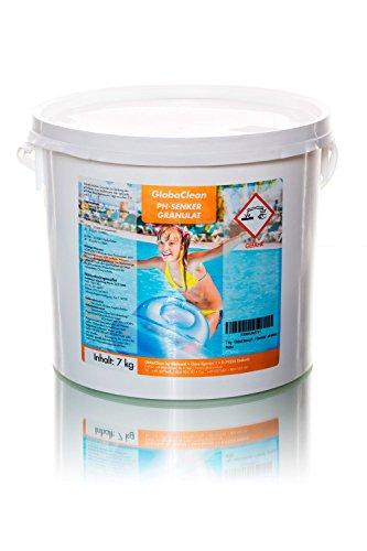 GlobaClean® pH-Senker 7 Kg Granulat ph minus, zur schnellen Absenkung des pH-Werts Ihres Poolwassers, einfache Dosierung, schnell löslich, Pool-Pflegemittel geeignet für alle Wasser- und Filtersysteme