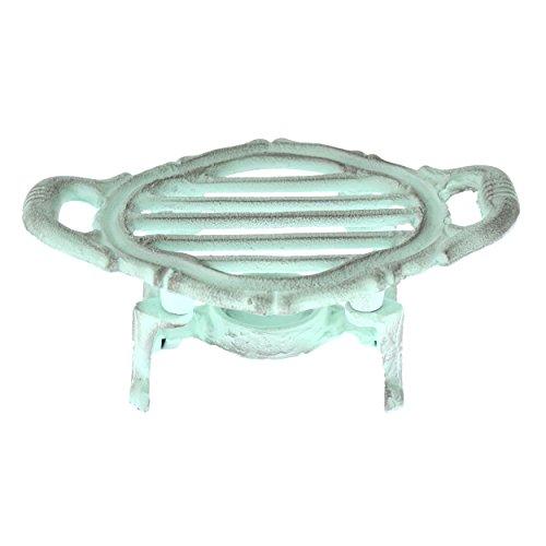 Portable Gusseisen, Einem Brenner (French Kitchen Collection Speisewärmer, oval, Gusseisen, Antik Grün, 19x 12x 8cm)