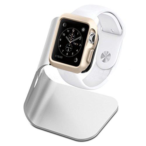 nicerio Ständer für Apple Watch, Ladestation Notebook Aluminium 42mm 38mm Ladegerät Universal für iWatch-Silber