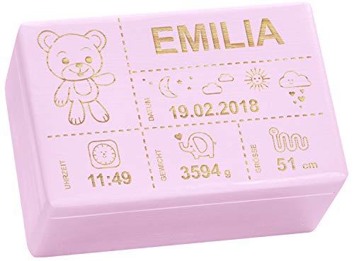 Holzkiste mit Gravur - Personalisiert mit ❤ GEBURTSDATEN ❤ - Rosa, Größe M - Teddybär Motiv - Erinnerungskiste als Geschenk zur Geburt - LAUBLUST® (M M Und Personalisiert)