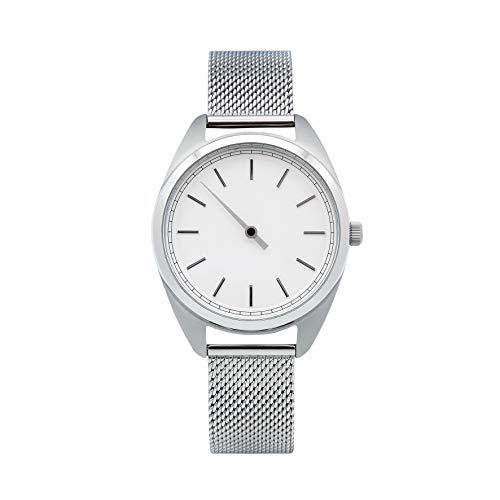 TIMEMATE Einzeigeruhr für Damen TM-30001 Double Silver White mit Meshband