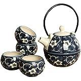 Panbado Service à Thé Kung Fu Asiatique - 4 Tasses 1 Théière Chinoise en Porcelaine Céramique Style Zen Fleur Noir