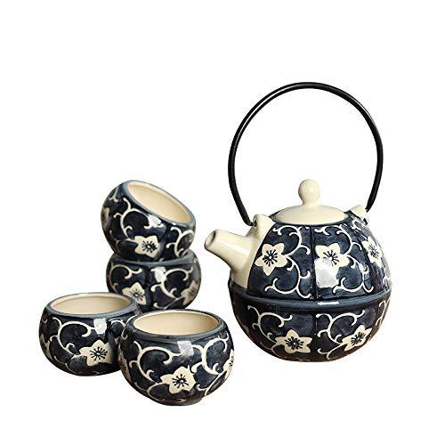 Panbado–Japonés té (Gres, incluye 1Tetera 700ml con 4tazas, regalo para Navidad