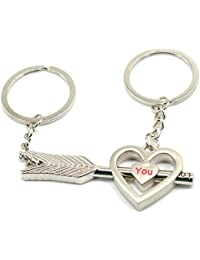 Faynci Fashion Love You Heart With Love You Arrow Key Couple Key Chain For Gifting Valentine Day/Birthday/Friendship...