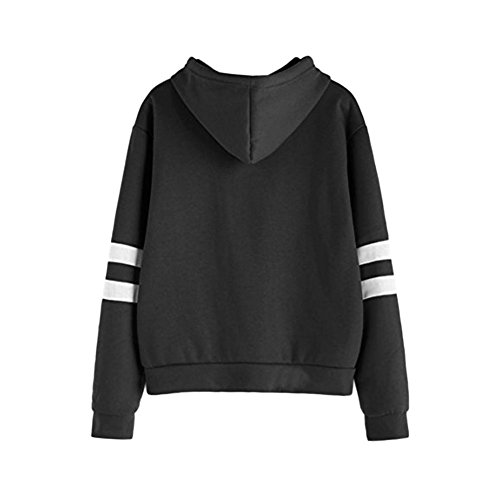 Meijunter Femmes Mode Imprimé Big Pocket Pull Sweats à capuche Pullover Hoodies Tops Noir