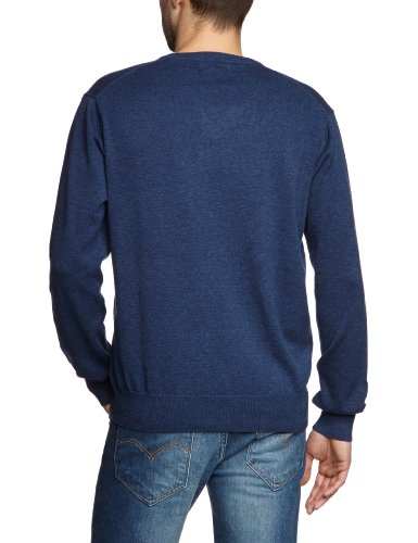 GANT Herren Pullover LT. WEIGHT COTTON V-NECK, Einfarbig Blau  (DENIM BLUE MEL)