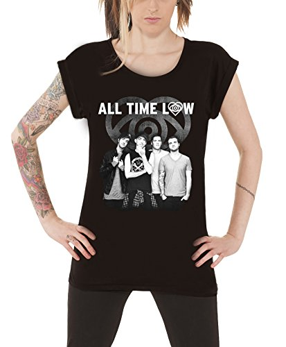 All Time Low Colourless Weiß offiziell damen Nue Roll Sleeve T Shirt (Sleeve Shirt Roll)