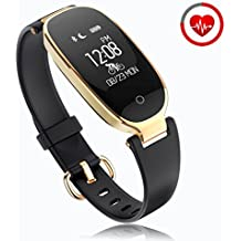 Reloj Inteligente mujer ZKCREATION Fitness Tracker K3 Bluetooth Smartwatch Pulsera Inteligentes Actividad Monitor Cardio Podómetro IP67 impermeable monitor de Sueño Compatible con Android y iOS(Negro)