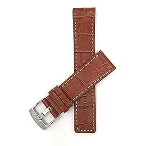22mm – 30mm Leder Uhrenarmband Für Herren, Mit Naht, Braun,Schwarz, Weiß, Braun, Königsblau