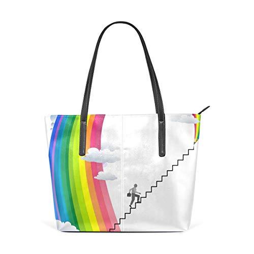 xcvgcxcbaoabo Mode Handtaschen Einkaufstasche Top Griff Umhängetaschen Climb Up Rainbow one shoulder handbag leather Hand Bag -