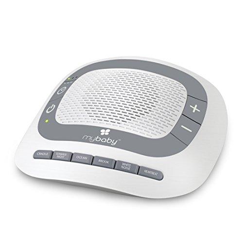 MyBaby SoundSpa White Noise & beruhigende Klänge, Einschlafhilfe für Babys und Kleinkinder mit Schlafliedern & natürlichen Klängen wie Herztöne, weißes Rauschen, Meeresrauschen, Timerfunktion