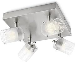 Philips 532696716 Toile Lampada da Soffitto Quadrata 4 Faretti a LED