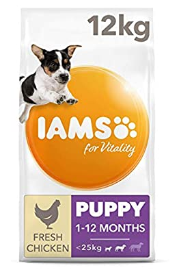 IAMS for Vitality Puppy Food Small/Medium Breed with Fresh Chicken, 12 kg