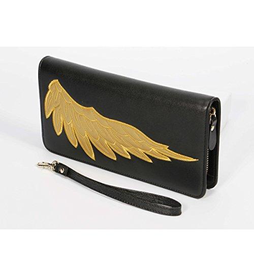 Heart&M Chinesisches Ehepaar Wind Flügel gestickte Damen Zip um Brieftasche Leder Geldbörse Clutch-Tasche Black