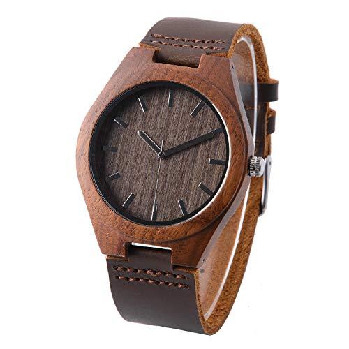 Holzuhr mit Lederarmband Walnuss Holz Uhr Herrenuhr Holzoptik Personalisierte Uhr für Männer...