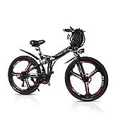 ZBB Biciclette elettriche Mountain Bike Pieghevoli 48V 350W Adulti 7 velocità Doppio Ammortizzatore con Freno a Disco da 26 Pollici e Forcella a Sospensione Completa velocità Fino a 40 km/h,Nero