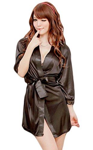 Bomshel Women Babydoll Lingerie Satin Nightwear Nightdress (Black)
