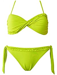Bandeau Bikini Maillot Badeanzug Bathing Suit neon Hot Sexy Push Up Slip BK07