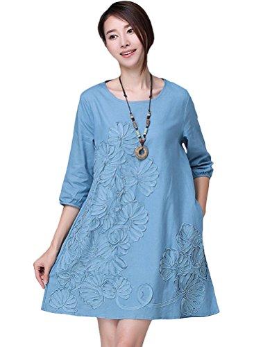 MatchLife Damen Sommer Blumen Kleider Top Blau