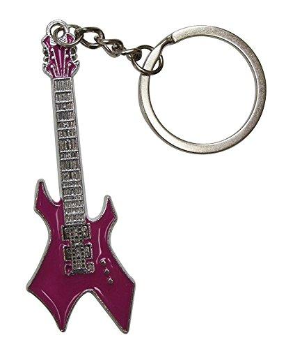 Llavero de acero plateado diseño de guitarra eléctrica estilo hard-rock. (Violeta)