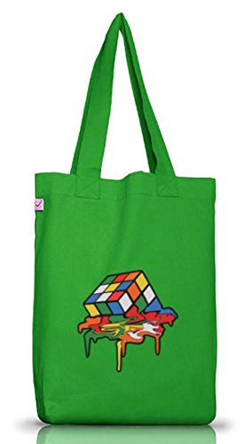 Zauberwürfel Jutebeutel Stoffbeutel Earth Positive mit Magic Cube Melting Motiv Kelly Green