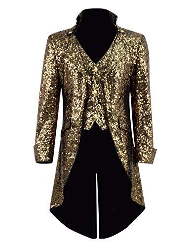 Qian Qian Herren Vintage Frack Jacke Gothic Steampunk Viktorianischen Mantel Karneval Vampir Kostüm Smoking Jacke Uniform (XL, Dunkles Gold Pailletten) (Männer Für Kostüme Vampir)