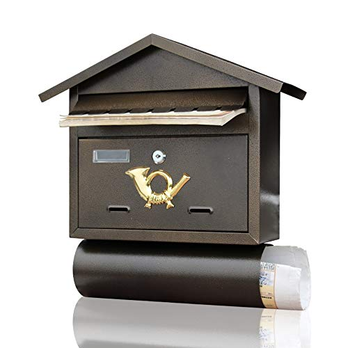 Shao jun cassetta delle lettere - piastra di zinco, applique da parete per esterni retrò vintage in ferro battuto con contenitore di giornale, adatta per ville, cortili, case - 40.5x31x9.5cm impermeab