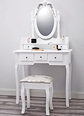 Capri AGTC0010 White Dressing Table with Stool & Mirror 155x80x40 - inexpensive UK dressing table store.