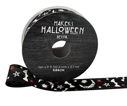 Maker's Halloween-Band, 2,2 x 2,9 m, Monde, Fledermäuse und Sterne auf Schwarz