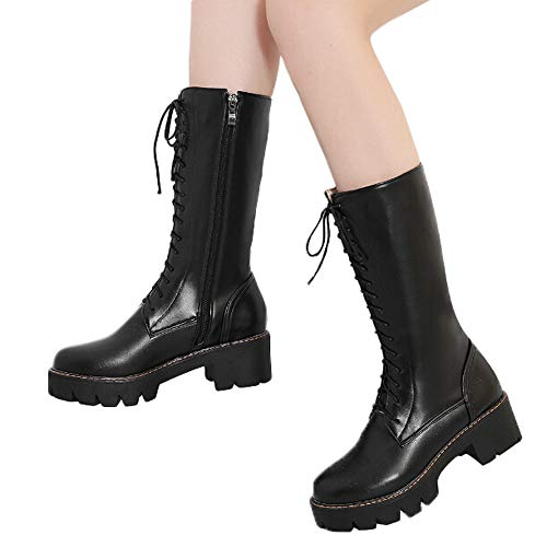 MYMYG Frau Mittleres Rohr Stiefel Damen Rutschfeste Mitte Booties Winterschuhe Plateauschuhe Lederschuhe Stylische Zip-up Lace Up Schuhe Elegant Retro PU Leder Stiefel (10 Top Halloween-horror-filme)