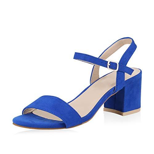 SCARPE VITA Damen Riemchensandaletten Blockabsatz Sandaletten Sommer Schuhe Mid Heel Absatzschuhe Klassische Metallic 173914 Blau Blau 37 -