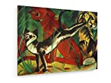 Franz Marc - DREI Katzen - Malerei 1913-60x45 cm - Textil-Leinwandbild auf Keilrahmen - Wand-Bild - Kunst, Gemälde, Foto, Bild auf Leinwand - Alte Meister/Museum