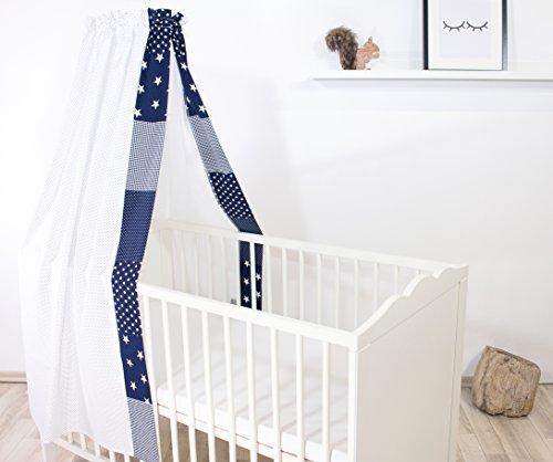 ULLENBOOM ® Baby-Betthimmel Blaue Sterne (135x200 cm Baldachin, Baumwolle, für 60x120 cm & 70x140 cm Kinderbetten, Motiv: Punkte, Sterne)