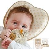 Babykissen gegen Plattkopf aus BIO-BAUMWOLLE von Minky Mooh® - Inkl. 2 Bezügen   Ergonomisches Memory Foam für natürliche Kopfform und Vermeidung von Kopfverformung von Deinem Neugeborenen Baby