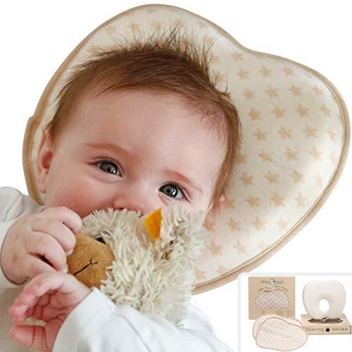 Babykissen Set gegen Plattkopf aus BIO-Baumwolle - Inkl. 2 waschbaren Bezügen | Ergonomisches Memory Foam für natürliche Kopfform und Vermeidung von Kopfverformung von Deinem Neugeborenen Baby
