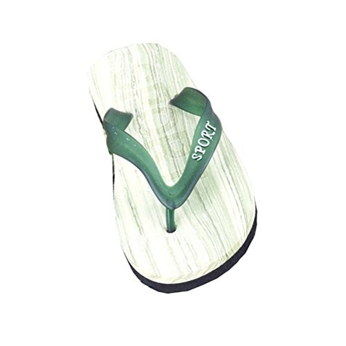 Linyuan Casual Style Wood Pattern Non-slip Men's Flip Flops Simple Summer Beach Sandals Slippers Green