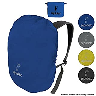 ALPIDEX backpack rain protector NO RAIN rain cover various sizes and colors, for all brands of backpack, with cord stopper and integrated pouch, Colour:blue, Volume:15-30 Liter