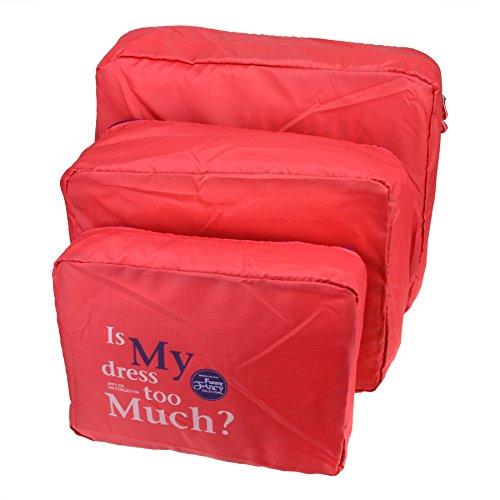 FakeFace 3er-Set Polyester Wäsche Organizer Reisetasche Gepäcktaschen Set Kleidertaschen Aufbewahrungstaschen Schminktasche Beautycase für Koffer Packing Cubes Koffertaschen für Angenehme Reise (Rosa)