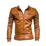 Screenes Herren Slim Fit Mode Jacke Kunstleder Herbstjacke Jacken Zipper Mantel Bomberjacke Kunst Lederjacke Bikerjacke Outerwear Mantel (Color : Hellbraun, Size : M)